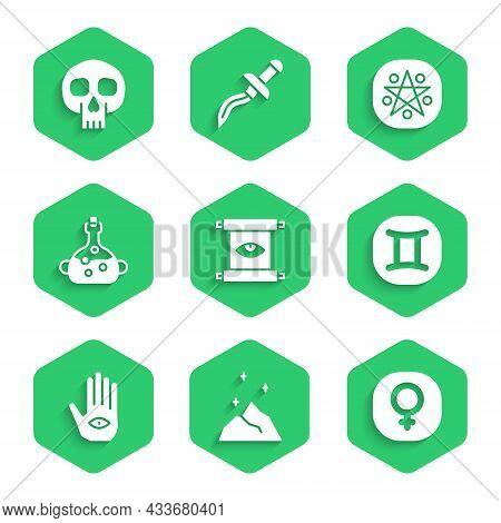 Set Ancient Magic Scroll, Magic Powder, Venus, Gemini Zodiac, Hamsa Hand, Poison Bottle, Pentagram C