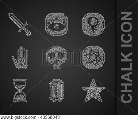 Set Skull, Magic Runes, Pentagram, Tarot Cards, Old Hourglass With Sand, Hamsa Hand, Venus And Medie