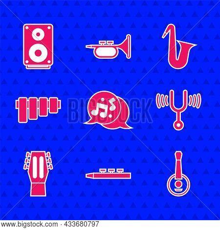 Set Music Note, Tone, Drum And Drum Sticks, Banjo, Musical Tuning Fork, Guitar, Pan Flute, Instrumen