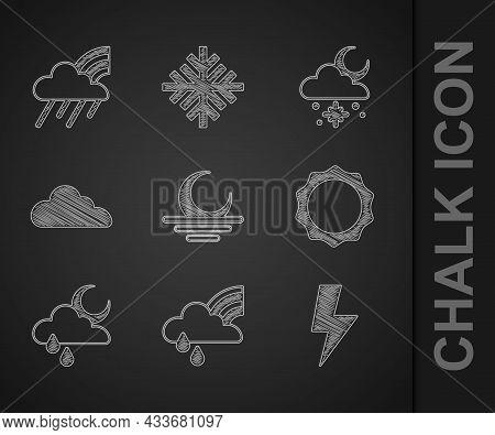 Set Sunset, Rainbow With Cloud And Rain, Lightning Bolt, Cloud Moon, Snow Sun And Icon. Vector