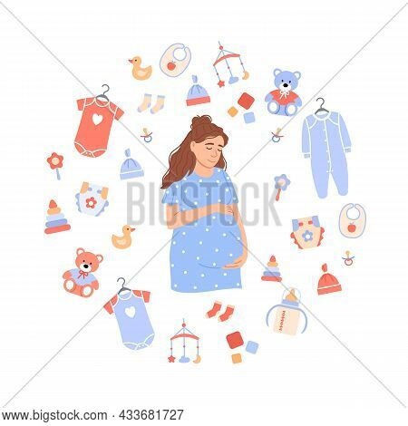 Happy Pregnant Woman Portrait On Baby Background. Flat Caucasian Expectant Holds Belly In Cartoon Ci