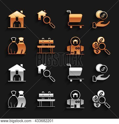 Set Bench, Donation Hand With Money, Search For, Homeless Cardboard House, Garbage Bag, Shopping Car