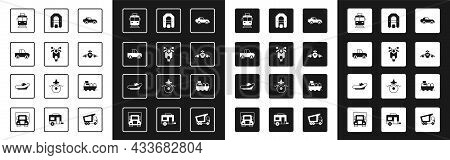 Set Car, Scooter, Pickup Truck, Tram And Railway, Plane, Rafting Boat, Oil Tanker Ship And Icon. Vec