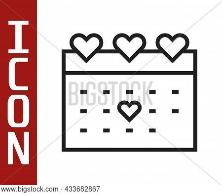 Black Line Calendar With Heart Icon Isolated On White Background. Valentines Day. Love Symbol. Febru