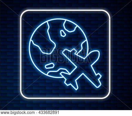 Glowing Neon Line Globe With Flying Plane Icon Isolated On Brick Wall Background. Airplane Fly Aroun