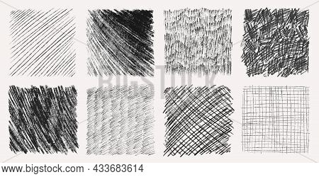 Sketch Pencil Texture Set. Pen Hatch Effect, Black Scribble Chalk, Grunge Freehand Vector. Handmade