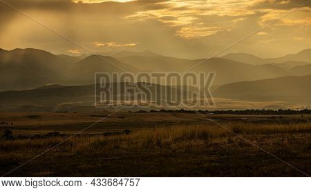 Colorado Mountain Range Of The Southern Rocky Mountains Of North America. Sunset Scenery. South Of D