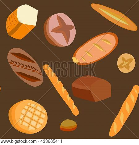 Baking, Set, Buns, Bread, Loaves, Baguettes, Flat Cakes, Rye And Wheat. Round, Square And Oval. Seam
