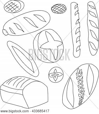 Baking, Set, Buns, Bread, Loaves, Baguettes, Flat Cakes, Rye And Wheat. Round, Square And Oval. Dood