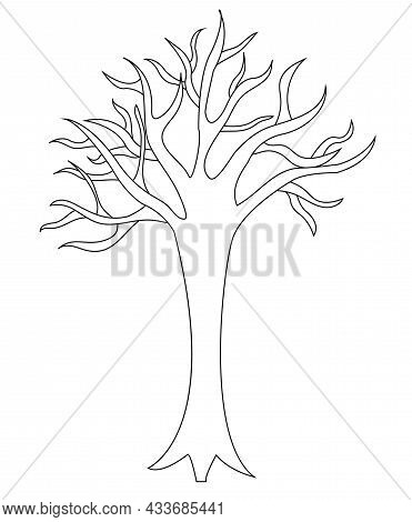 A Tree With Spreading Branches Without Leaves. Doodle Style. Vector Stock Illustration Isolated On W