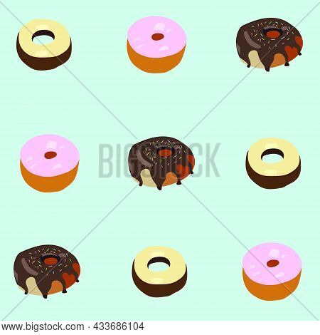 Three Round Ruddy Donuts With Black And White Chocolate, Pink Icing, Colored Sweet Sprinkles. Vector