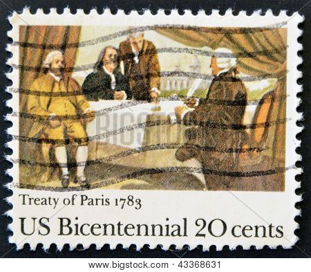 A stamp printed in the USA shows Treaty of Paris 1783 US Bicentennial