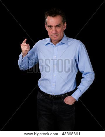 Angry Middle Age Business Man Pointing Finger