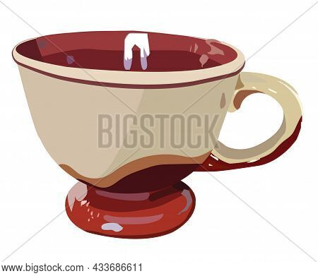 Large Ceramic Cup With A Handle, For Hot Drinks, Broth. Realism Style. Vector Stock Illustration Iso