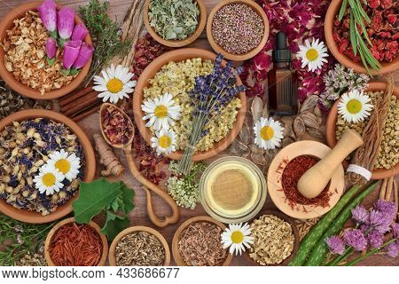Essential oil preparation with herbs and flowers used in natural herbal  medicine remedies. Plant based nature health care concept. Top view on rustic wood.