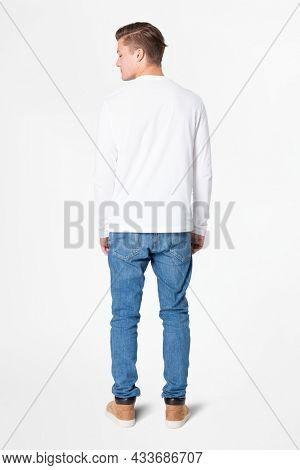 White long sleeve t-shirt menrsquo;s basic wear rear view