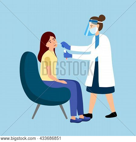 Covid-19 Coronavirus Testing Carried Out By A Medical Professional Staff, Doctor Or Nurse. Woman Rec