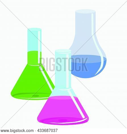 Three Glass Laboratory Chemical Flasks With Substances Of Different Colors, Pink, Blue, Light Green.