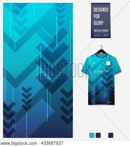 Soccer Jersey Pattern Design. Geometric Pattern On Blue Background For Soccer Kit, Football Kit, Bic