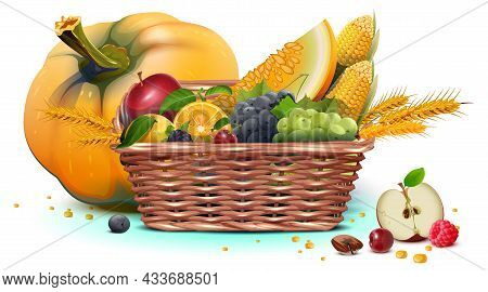Rich Harvest Full Wicker Basket Of Fruit And Vegetable. Thanksgiving Day Heavy Crop