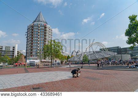 Rotterdam Netherlands - August 22 2021; City Urban Landscape Open Paved Space Alongside Rotterdam Ma