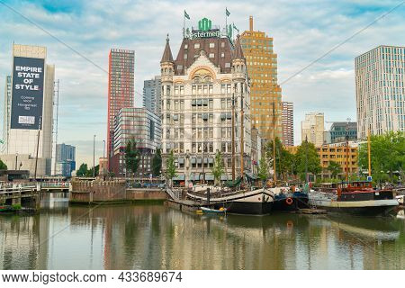 Rotterdam Netherlands - August 23 2017; Old Harbour Boats And Surrounding Buildings In Picturesque M