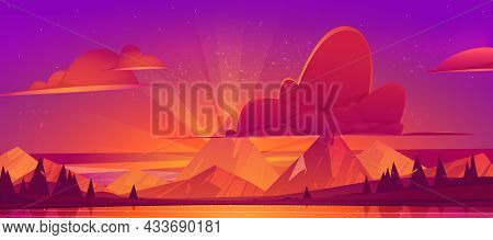Sunset In Mountains Scenery Landscape, Nature View. Beautiful Pink Or Purple Cloudy Sky And Dusk Sun