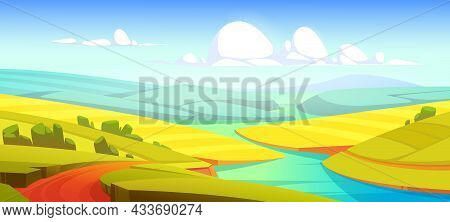 Summer Landscape With Green Fields, River And Road. Vector Cartoon Illustration Of Countryside With