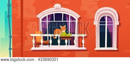 Cat Sleep On Home Balcony Railing. Sweet Pet Relax Outside Of House. Brick Wall Facade With Window A