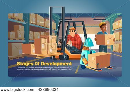 Warehouse Workers And Robot Load Boxes On Racks Cartoon Banner. Storehouse Stages Of Development, Lo