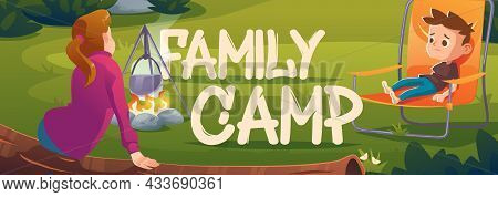 Family Camp Cartoon Banner, Children Relax In Forest Camping, Girl Sitting On Log And Boy On Chair N
