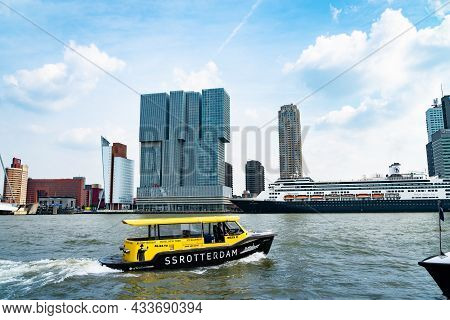 Rotterdam Netherlands - August 22 2021; Water Tax Ss Rotterdam Named For Hotel Of Same Name Crosses