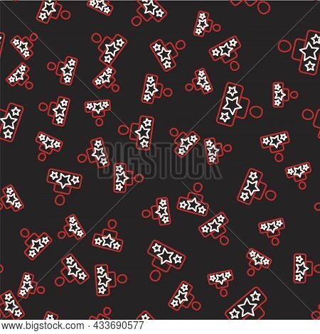Line Actor Star Icon Isolated Seamless Pattern On Black Background. Vector