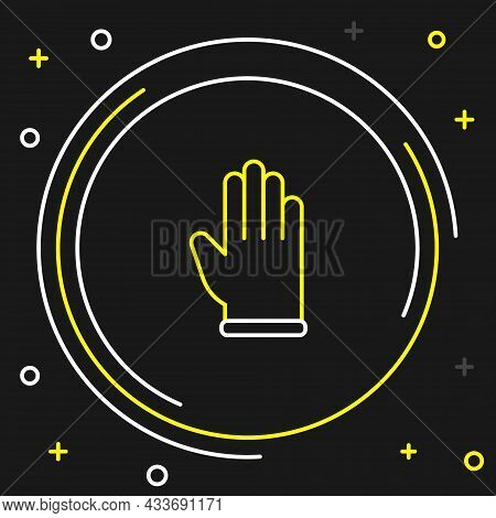 Line Rubber Gloves Icon Isolated On Black Background. Latex Hand Protection Sign. Housework Cleaning
