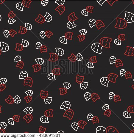 Line Comedy And Tragedy Theatrical Masks Icon Isolated Seamless Pattern On Black Background. Vector