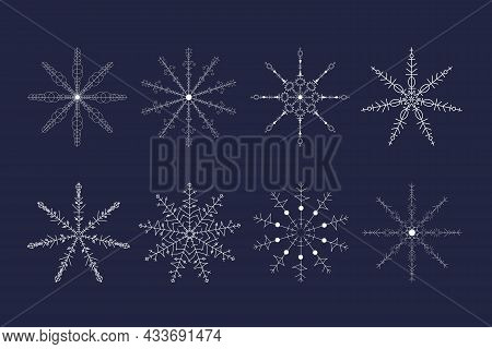 Beautiful White Snowflake Set For Christmas Winter Design. New Year Ornament. Flat Line Vector Illus