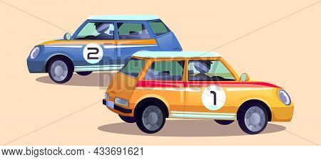 Race Cars, Cartoon Rally Auto With Drivers. Racing Automobiles Of Blue And Orange Colors With Number