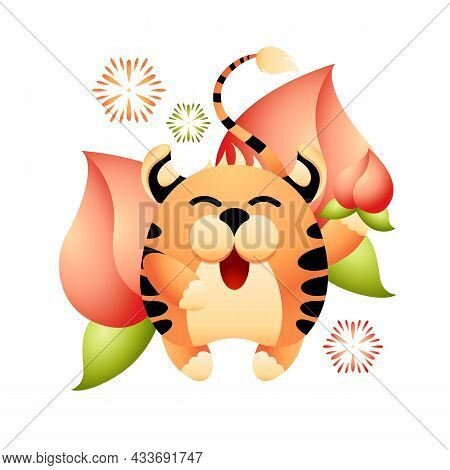 Red Tiger Is Symbol Of Coming Chinese New Year 2022. Happy Striped Tiger Gives Ripe Peach As Sign Of