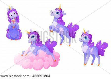 Cute Unicorn Character In Different Poses Isolated On White Background. Vector Set Of Cartoon Funny