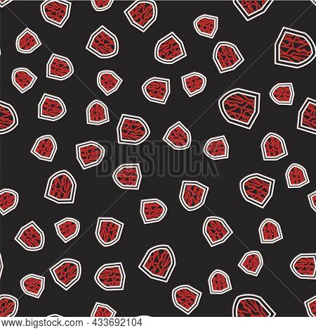 Line Shield Icon Isolated Seamless Pattern On Black Background. Guard Sign. Security, Safety, Protec