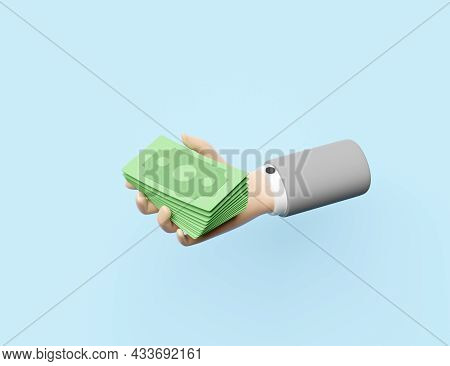 Cartoon Businessman Hands Holding Banknote Isolated On Blue Background.quick Credit Approval Or Loan