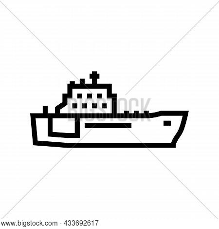 Navy Boat Line Icon Vector. Navy Boat Sign. Isolated Contour Symbol Black Illustration