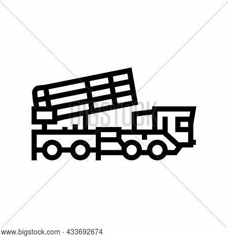 Air Defense Machine Line Icon Vector. Air Defense Machine Sign. Isolated Contour Symbol Black Illust