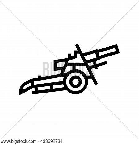 Artillery War Weapon Line Icon Vector. Artillery War Weapon Sign. Isolated Contour Symbol Black Illu