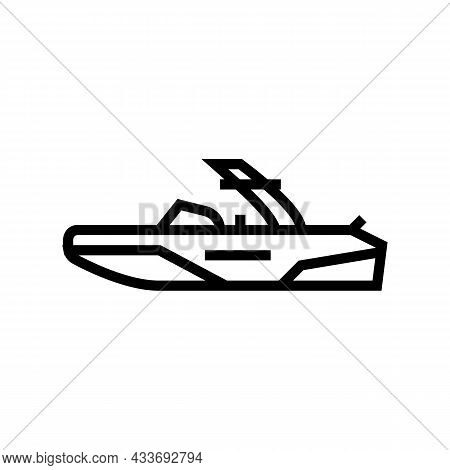 Wakeboard Ski Boat Line Icon Vector. Wakeboard Ski Boat Sign. Isolated Contour Symbol Black Illustra