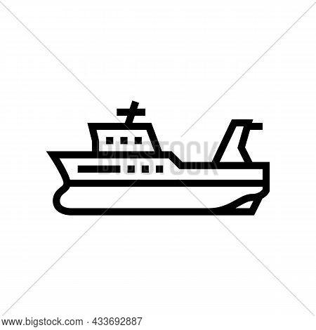 Trawler Boat Line Icon Vector. Trawler Boat Sign. Isolated Contour Symbol Black Illustration