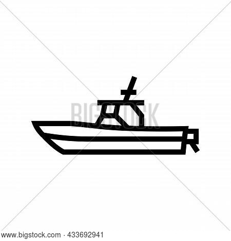 Center Console Boat Line Icon Vector. Center Console Boat Sign. Isolated Contour Symbol Black Illust