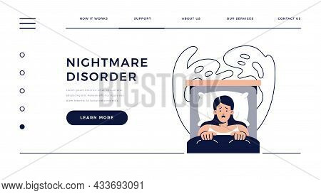 Nightmare Disorder Web Template. Scared Woman Is Waking Up From A Nightmare And Lying In Bed And Bei