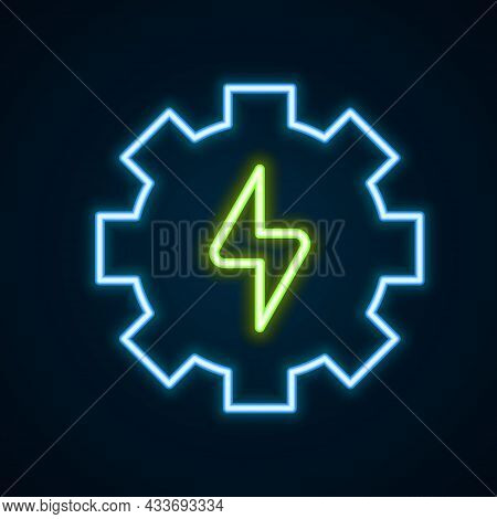 Glowing Neon Line Gear And Lightning Icon Isolated On Black Background. Electric Power. Lightning Bo