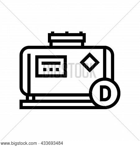 Diesel Gas Station Line Icon Vector. Diesel Gas Station Sign. Isolated Contour Symbol Black Illustra